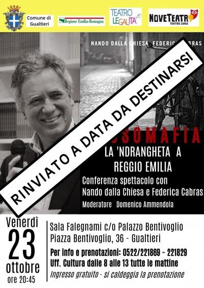 RINVIATO - ROSSO MAFIA LA'NDRANGHETA A REGGIO EMILIA
